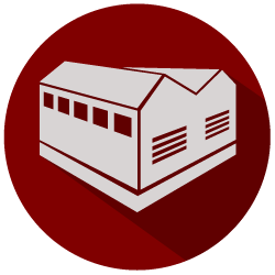 red and grey building icon